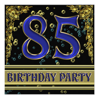 Black and Gold 85th Birthday party Personalized Invites