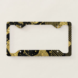 Black and Gold Abstract Geometric Art License Plate Frame
