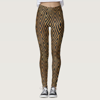 Black and Gold Abstract Leggings