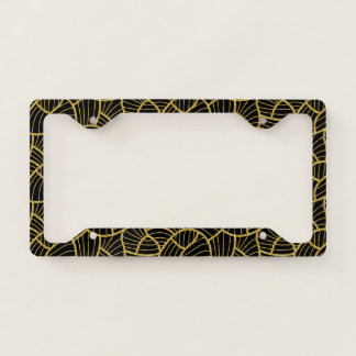 Black and gold abstract modern geometric pattern license plate frame