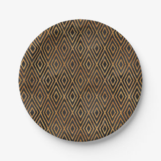 Black and Gold Abstract Paper Plate