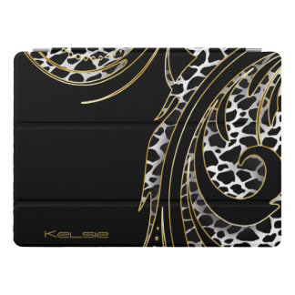 Black and Gold Animal Swirly Print iPad Pro Cover