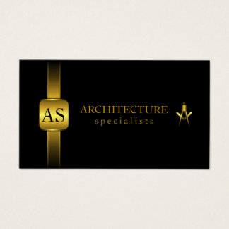 Black and Gold Architect Compass Architecture Business Card