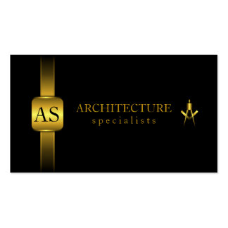 Black and Gold Architect Compass Business Cards