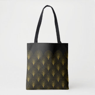 Black And Gold Art-Deco Geometric Pattern Tote Bag