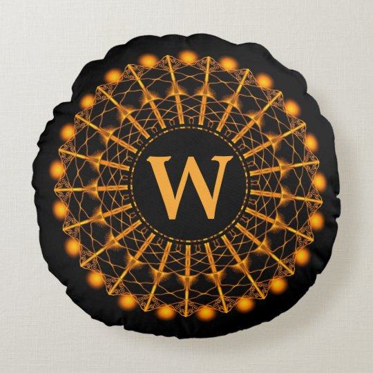 Black and Gold Art Deco Mandala - Personalized Round Pillow