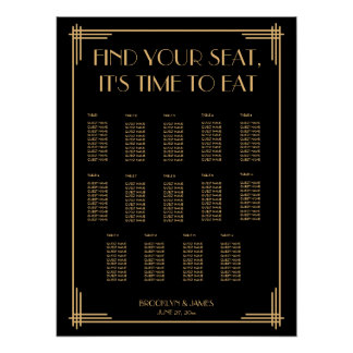 Black And Gold Art Deco Wedding Seating Chart Poster