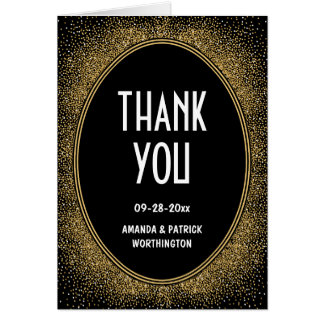 Black and Gold Art Deco Wedding Thank You Cards