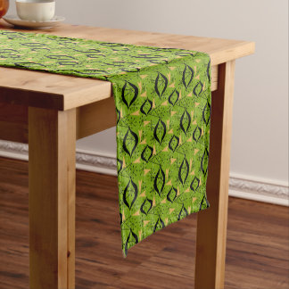 Black and Gold Atomic Pattern on Green | Fifties Short Table Runner