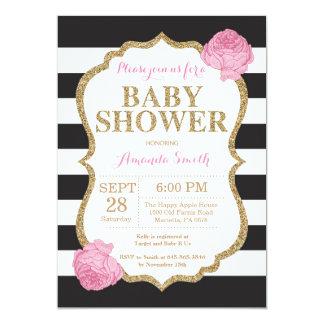 Black and Gold Baby Shower Invitation Glitter
