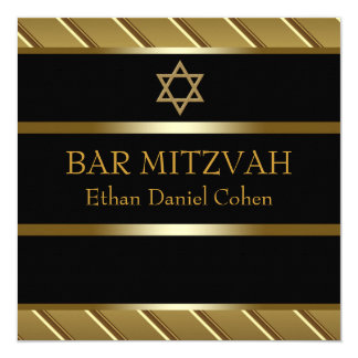 "Black and Gold Bar Mitzvah 5.25"" Square Invitation Card"