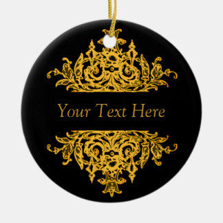 Black and Gold Baroque Christmas Ornament