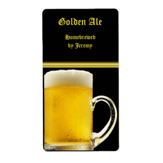 Black and Gold Beer Label Shipping Label