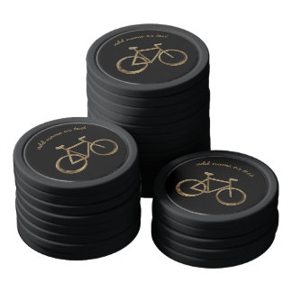 Black and Gold Bike Bicycle Cycling Cyclist Chips Poker Chips