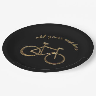 Black and Gold Bike Bicycle Cycling Cyclist Paper Plate