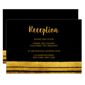 Black and Gold Brush Stroke Reception Card