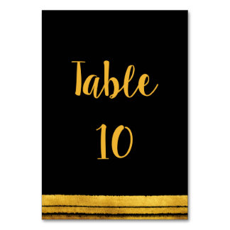 Black and Gold Brush Stroke Table Number Card