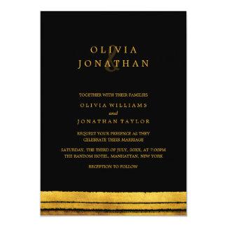 Black and Gold Brush Stroke Wedding Invitation