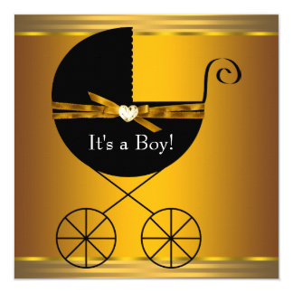 Black and Gold Carriage Boys Baby Shower Card
