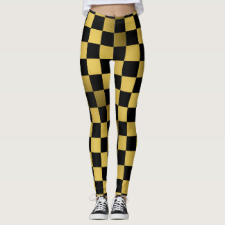 Black and Gold Checkered board Pattern Leggings