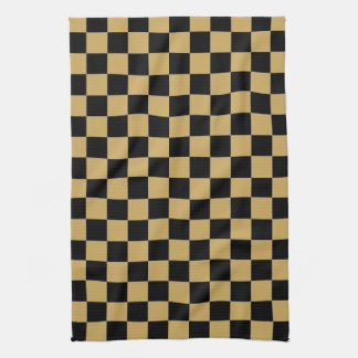 Black and Gold Checkered Kitchen Towel