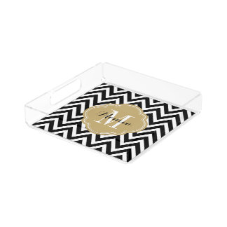 Black and Gold Chevron Monogram Acrylic Tray
