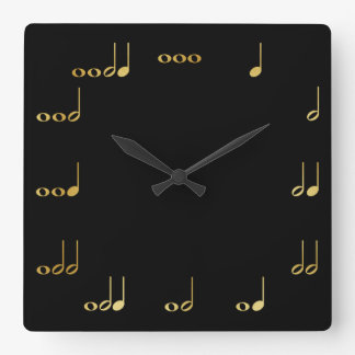 Black and Gold Chevron Musical Notes Clocks
