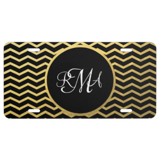 Black and Gold Chevron Pattern Triple Monogrammed License Plate