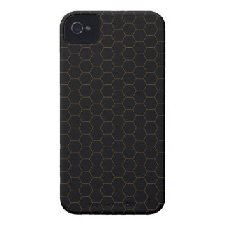 Black and Gold Chicken Wire Hexagon Pattern Design Case-Mate iPhone 4 Case
