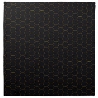 Black and Gold Chicken Wire Hexagon Pattern Design Napkin