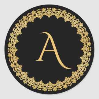 Black and Gold Christmas Monogram Sticker