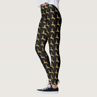 Black and Gold Christmas Reindeer Holiday Leggings
