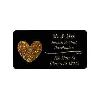 Black and Gold Classy Return Mailing Address Label