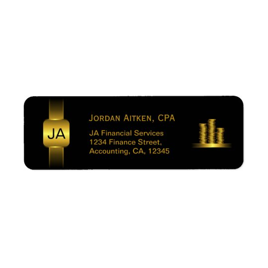 Black and Gold Coins CPA Accountant Classy Address Return Address Label