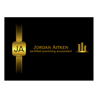 Black and Gold Coins Horiz. Large CPA Accountant Large Business Card