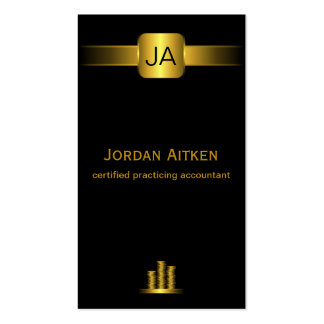 Black and Gold Coins Vertical CPA Accountant Business Card