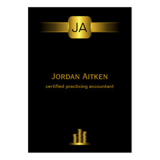 Black and Gold Coins Vertical Large CPA Accountant Large Business Card