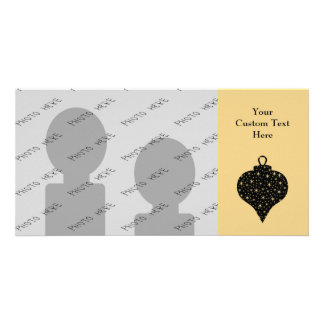 Black and Gold Color Christmas Bauble Design. Photo Cards