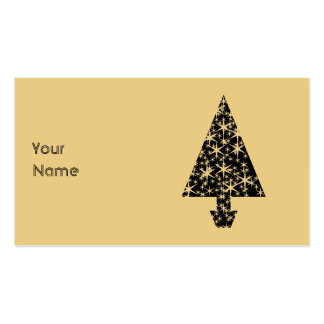 Black and Gold Color Christmas Tree Design. Double-Sided Standard Business Cards (Pack Of 100)