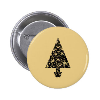 Black and Gold Color Christmas Tree Design Buttons
