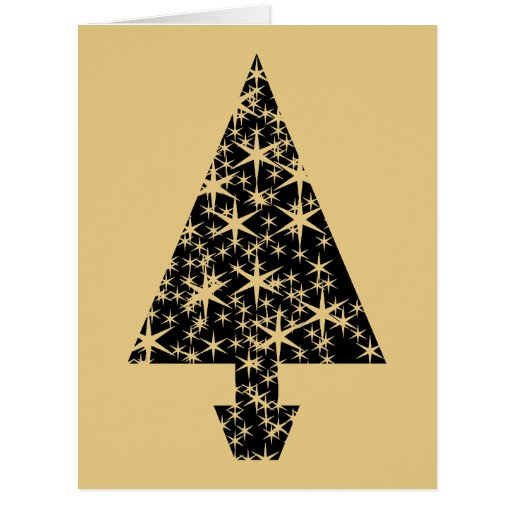 Black and Gold Color Christmas Tree Design. Greeting Cards