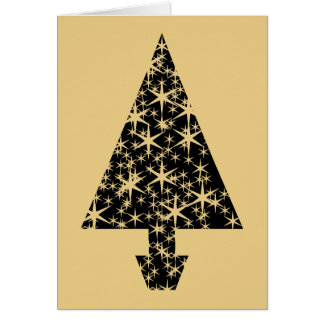 Black and Gold Color Christmas Tree Design. Greeting Card