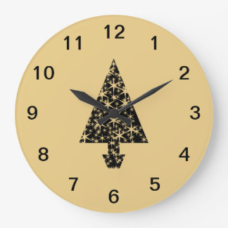 Black and Gold Color Christmas Tree Design. Wall Clock