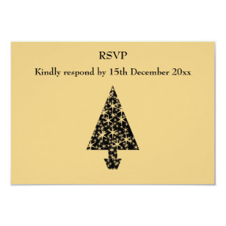 Black and Gold Color Christmas Tree Design. 3.5x5 Paper Invitation Card