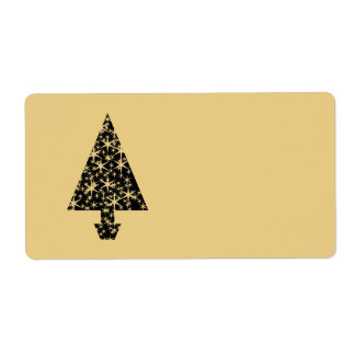 Black and Gold Color Christmas Tree Design Custom Shipping Label