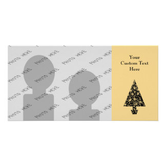 Black and Gold Color Christmas Tree Design Photo Card Template