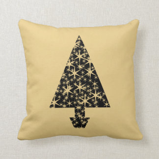 Black and Gold Color Christmas Tree Design Throw Pillows