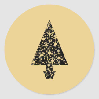 Black and Gold Color Christmas Tree Design Stickers
