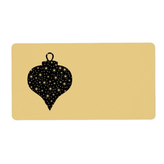 Black and Gold Colour Christmas Bauble Design. Shipping Label