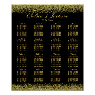 Black and Gold Confetti - 16 Seating Chart Poster